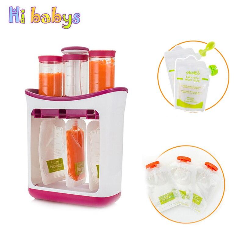 Baby Food Maker Baby Fütterung Container Lagerung Liefert Neugeborenen Kleinkind Feste saft maker mit 10 Beutel Squeez lagerung tasche