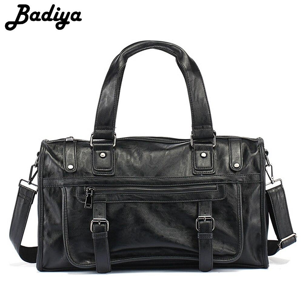 цена на New Arrival Travel Bag Men PU Leather Solid Handbag Large Capacity Casual Tote Business Bag