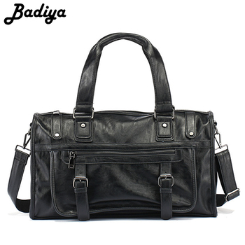 New Arrival Travel Bag Men PU Leather Solid Handbag Large Capacity Casual Tote Business Bag
