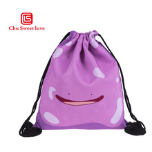 Purple Cartoon Pokemon Printing Canvas Bags Travel Portable Backpacks Drawstring For Women And Students Fashion Bag