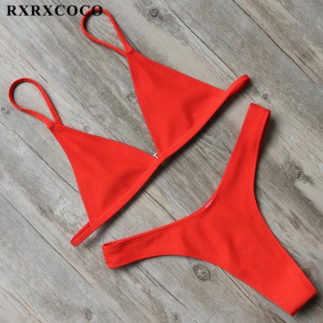 Sexy Solid Swimwear Women Bikini Set Thong Bottom Top Low Waist Beachwear Push Up Bandage Brazilian Swimsuit 1