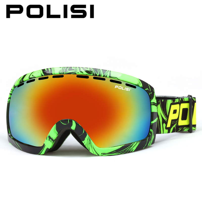 POLISI Men Women Snowboard Ski Goggles UV Protection Anti-Fog Double Layer Lens Esqui Snow Glasses Outdoor Sports Skate Eyewear q