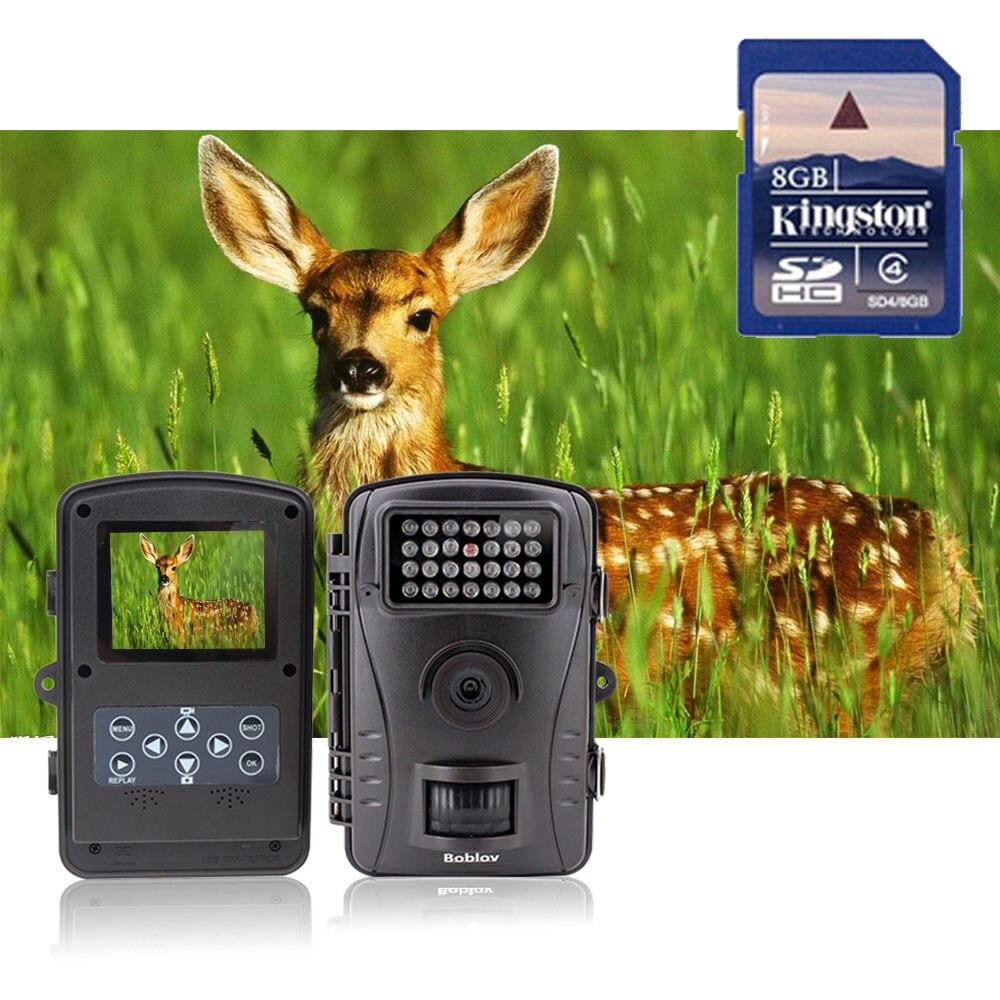 Boblov RD1003 8GB No Glow 8MP 850nm Infrared Digital Hunting Camera Animal Trap Trail Scouting Camera Security Camera DVR