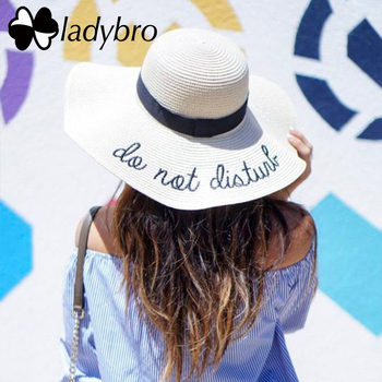 Ladybro Women Sun Hat Summer Beach Straw Hat Female Do Not Disturb Sombrero Sun Visor Wide Brim Hat Lady Foldable Chapeau Femme 1