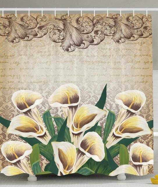 Floral Shower Curtain Greenery Decor Calla Lilly Flowers Vintage Design Retro Pattern Lillies Romantic Bathroom