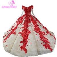 Vintage Wedding Dress 2018 Vestidos de Noivas Hoa Màu Đỏ Bride Dresses Princesa Wedding Gowns Robe De Mariee Grande Taille