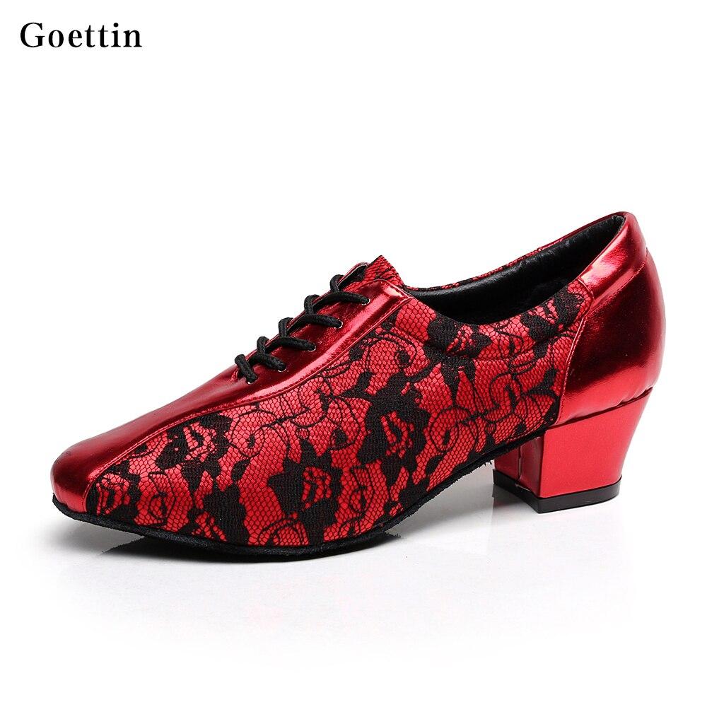 Nieuwkomers! Hoge kwaliteit Dames PU + Lace Latin Dansschoenen Ballroom Tango dansende schoen