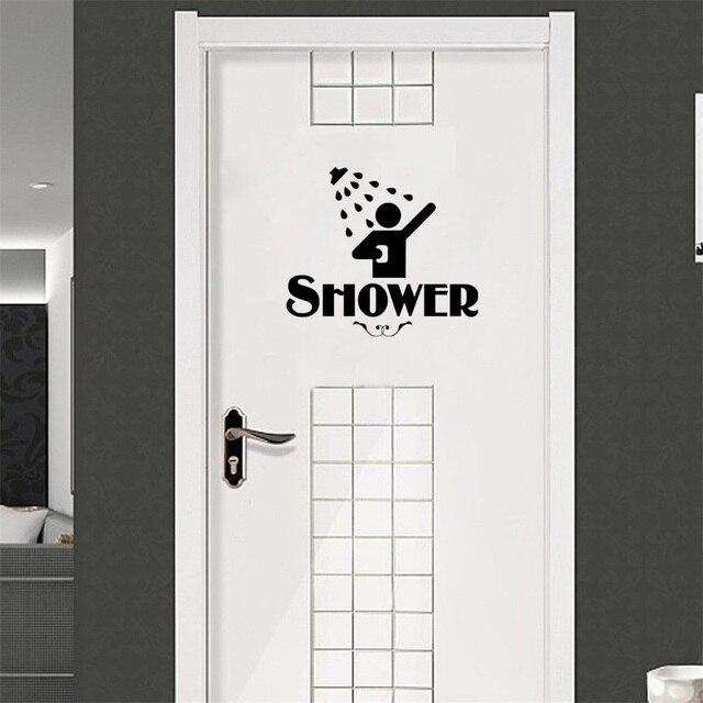 Kepribadian toilet mandi vinyl stiker pintu kamar mandi air sign lucu rumah dekorasi decal vinyl sticker