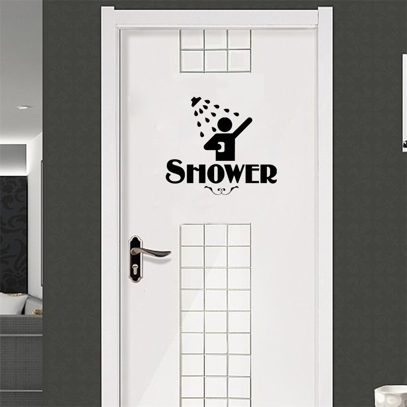 Personality Restroom Shower vinyl Sticker door Water Bathroom Sign Funny Home Decoration Decal Vinyl Sticker A2201