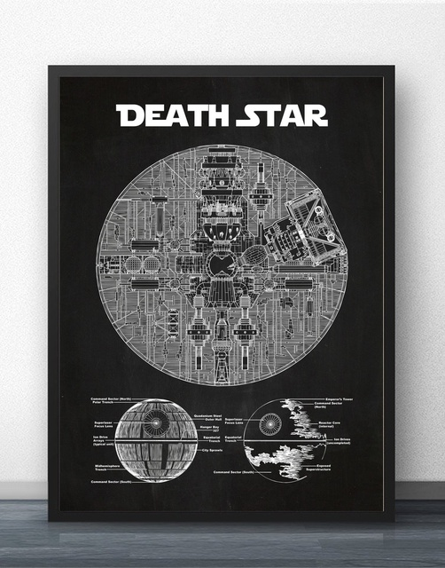 Star wars death star blueprint wall art paint prints canvas art star wars death star blueprint wall art paint prints canvas art poster oil paintings for living malvernweather Images