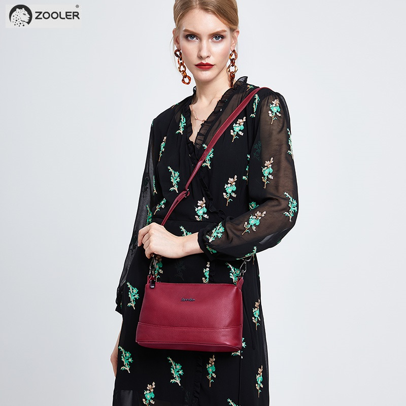 Mode Dames leer Koe portemonnee zwarte vrouw schoudertas zachte - Handtassen - Foto 3