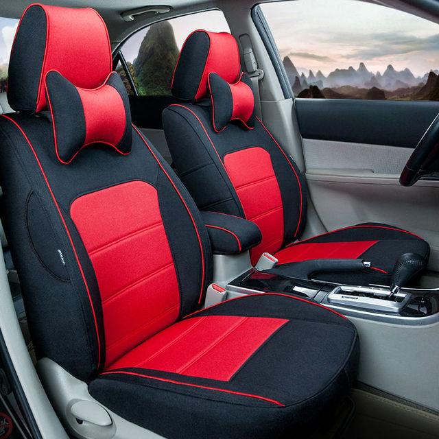 Automotive Linen Special Unique Car Seat Covers Mat Set Brown Orange Pad For Cadillac CTS CT6