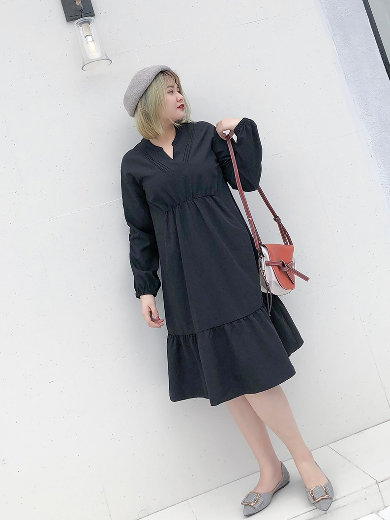 Ismiuo Big Code Female autumn winter foreign gas A dress thin fat mmV collar fat sister