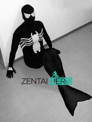 ZentaiHero nouvelle robe fantaisie Lycra noir venin Symbiote Spiderman queue de sirène Halloween carnaval Costume pour la fête 17020402