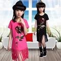Girls 2016 summer fashion tassels flower sequined O-neck short-sleeved T-shirt Tops