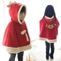 2015 New Korean version Fashion Girl coat cloak fall/winter Girl Cape velvet padded cartoon Girl Outerwear Coat