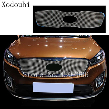 car body styling cover detector metal trim Front up Grid Grill Grille racing 1pcs For Kia Sorento 2015 2016 2017