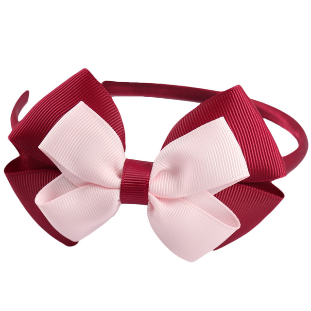 New Fashion Layered Hairbands Solid Grosgrain Ribbon Bows Headband Handmade Boutique Hairhoop Hair Accessories For Women Girls