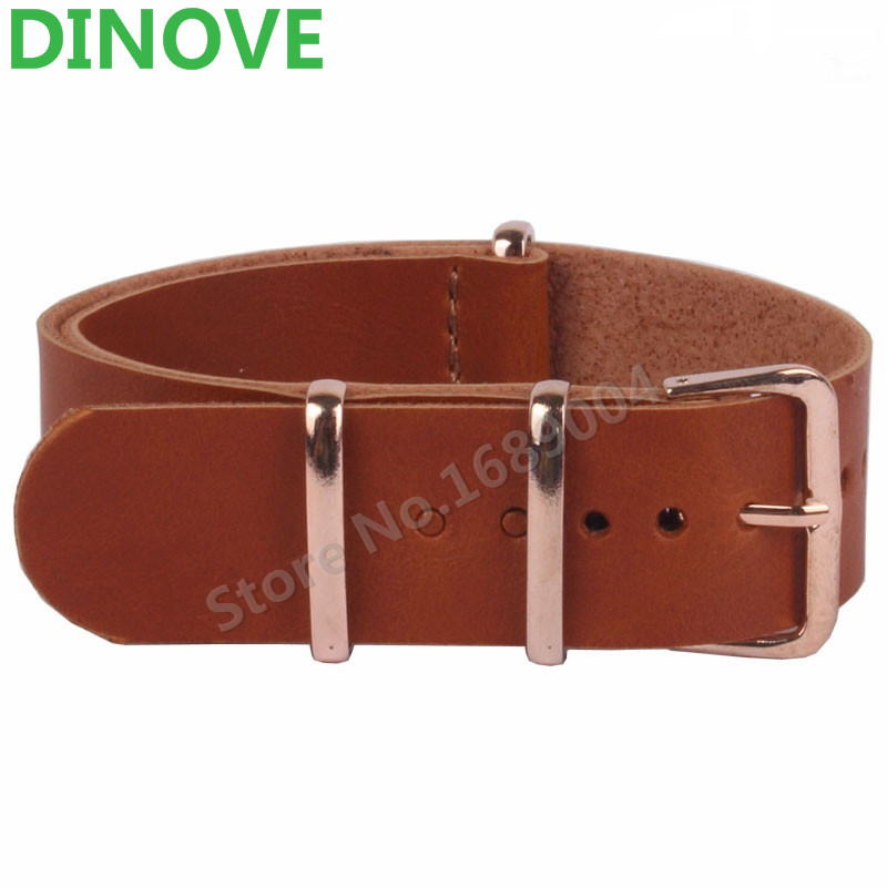 DINOVE 18mm 20 mm 22mm NATO Brown PU Leather Watchbands Men Women Watches Straps Wristwatch Band