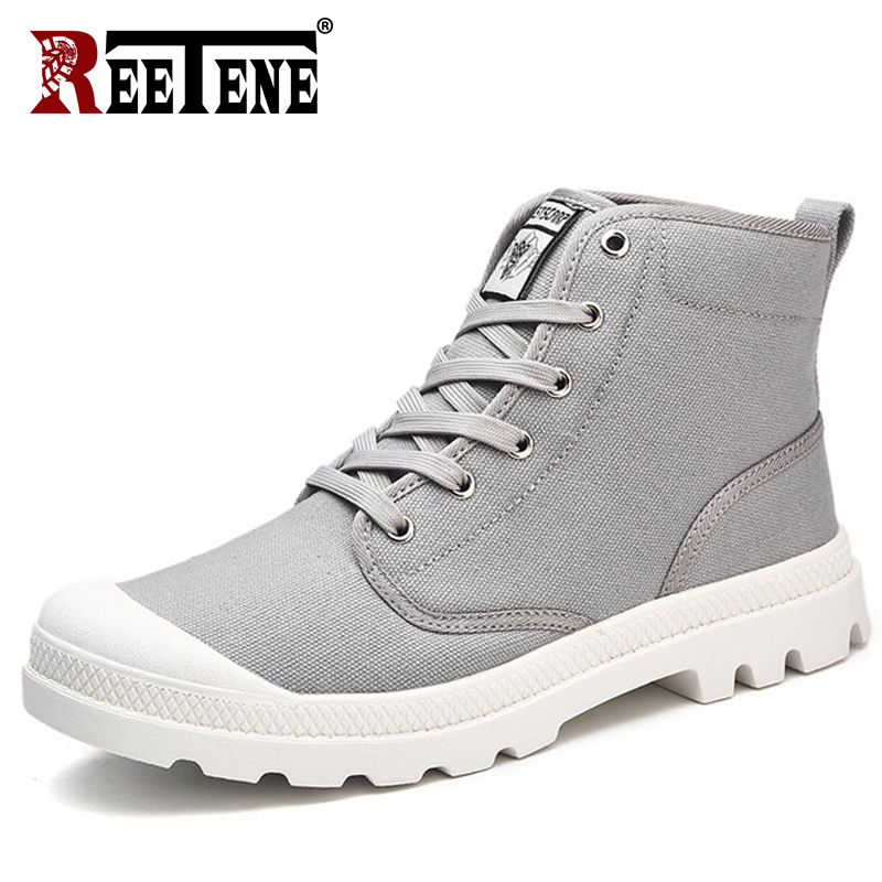 REETENE 2018 New Canvas Men Boots Canvas Ankle Boots Men Fashion Casual Men'S Boots High Quality Canvas Casual Shoes Men 39-47