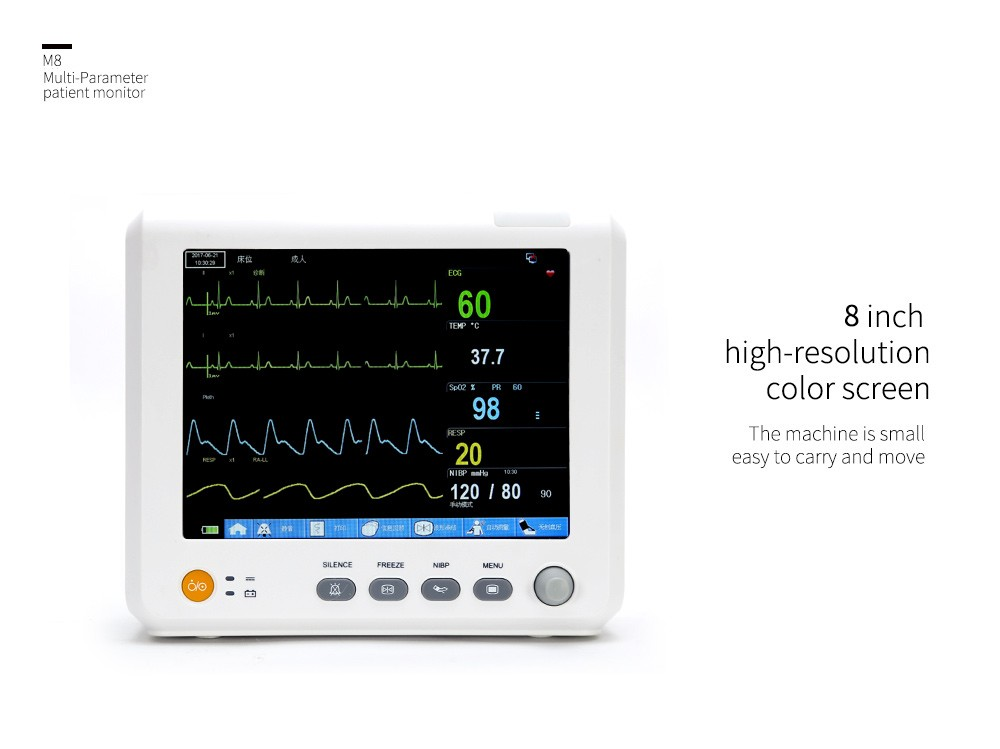 Trasporto Libero M8 FDA del CE TFT 'Portatile ICU Monitor Paziente Multi Parametro SPO2 + NIBP PR TEMP RESP