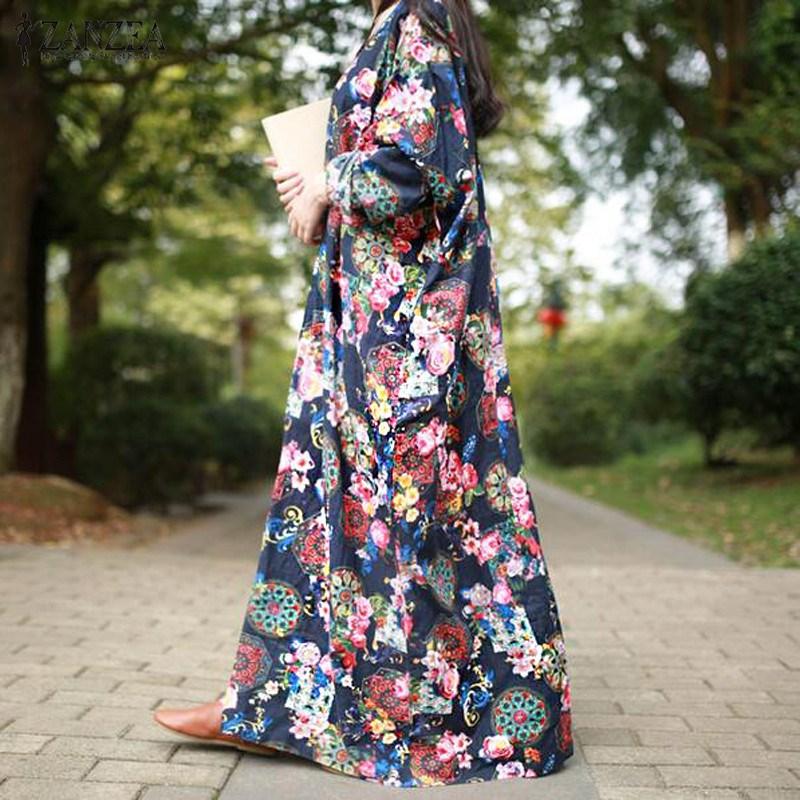 ZANZEA 2018 Women Maxi Long Dress Vintage Floral Print Dresses Batwing Long Sleeve Pockets Casual Loose Vestidos Plus Size