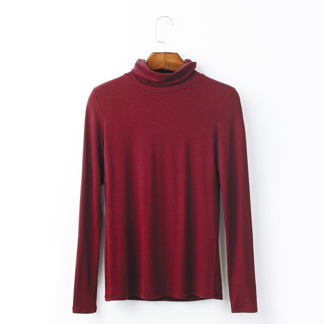 2018 European women slim spring new modal Turtlenneck long sleeve solid color T-shirt XZ0001
