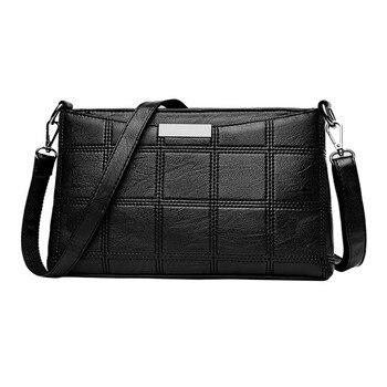 Women Handbag Casual Tassel Handbags Female Designer Bag Leather Plaid Messenger bag Shoulder Small square package #Zer