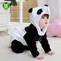 WPISUJĄC Niemowlę Romper Dziecka Chłopcy Dziewczyny Kombinezon Noworodka Bebe Odzież Z Kapturem Maluch 2017 Ubranka dla dzieci Cute Panda Romper Stroje