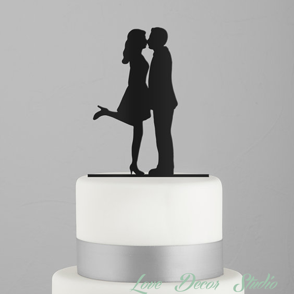 Wedding Cake Topper Kissing Couple Silhouette Acrylic Cake Topper ...