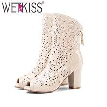 Wetkiss véritable mode en cuir découpes été bottes sexy strass zipper chaussures femme épais haute talons peep toe bottes femme