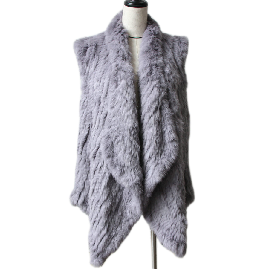 2018 lady New Foreign Style Knitted Rabbit Fur Vest Handmade Double-sided Knit Fur Waistcoat Women Fur shawl  Fur Gilets poncho