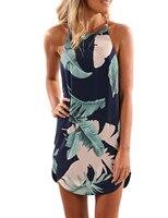 O-neck Sleeveless Floral Print Spaghetti Strap Dress Blue Red Side Slit Sexy Mini Dress Beach Club 2017 New Style Summer Dresses