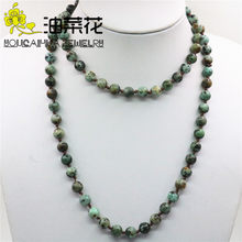 Natural Stone Amazon 8mm Round Beads Necklace Long Chain with Bracelets Jewelry  Women High Grade Gifts Manual Tie Woven 36inch 88f63ab48d91