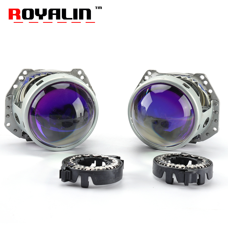 ROYALIN Blue Galss Bi Xenon Headlight Projector Lens for Hella 3R 5 3.0'' Metal Headlamps HID D1S D2S D3S D4S Auto Lamp Retrofit