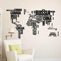 Pegatina de vinilo con mapa del mundo de letras extraíbles, decoración de pared para el hogar, decoración de habitación, escuela y oficina, 60x90cm