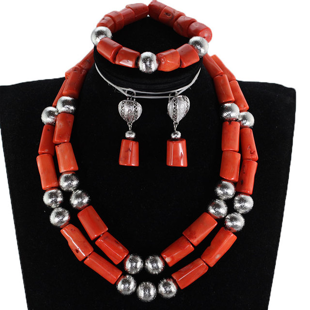 Gorgeous Coral and Silver Women Jewelry Set African Coral Beads Bridal Jewelry Set Nigerian Wedding Real Coral Beads Gift CNR904