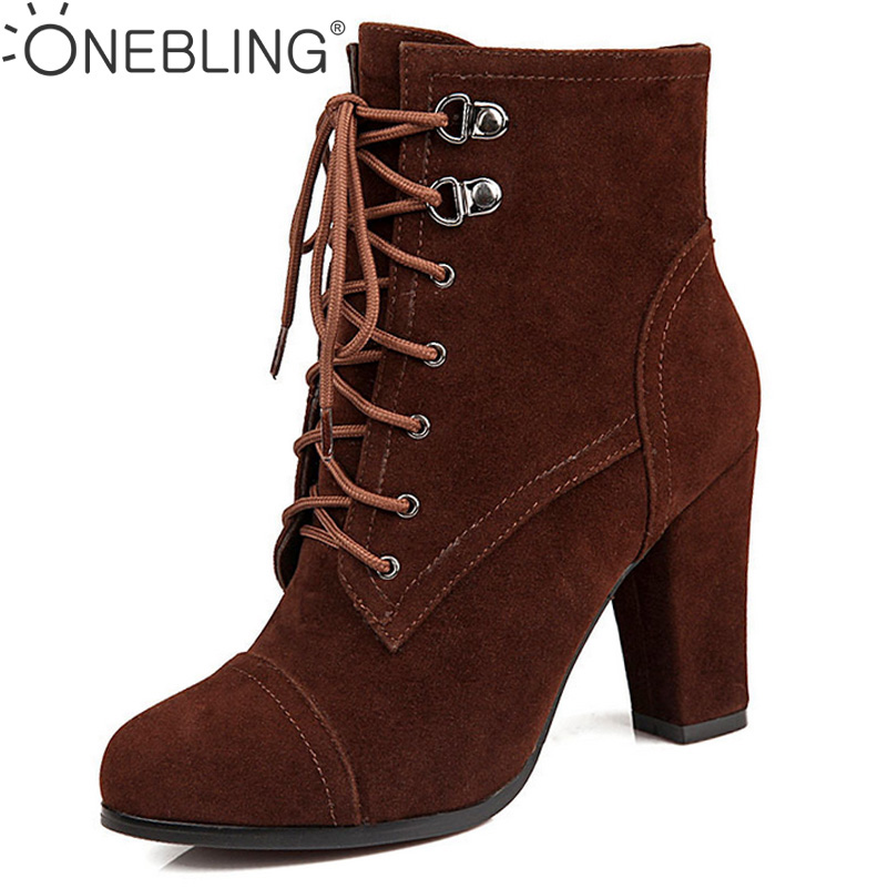 Plus Size 42 43 Super High Heel Pumps 2017 Fashion Faux Suede Suqare Heel Ankle Boots Winter Warm Short Plush Women Martin Boots odetina 2017 new faux suede mid calf boots with front zipper chunky heel elastic boots thick plush winter warm shoes big size 43