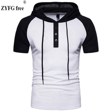 Raglan sleeves Male casual Hooded t shirt pockets Tees 2018 O-neck short-sleeved patchwork slim t-Shirt men EU size S-XXL Tops цены