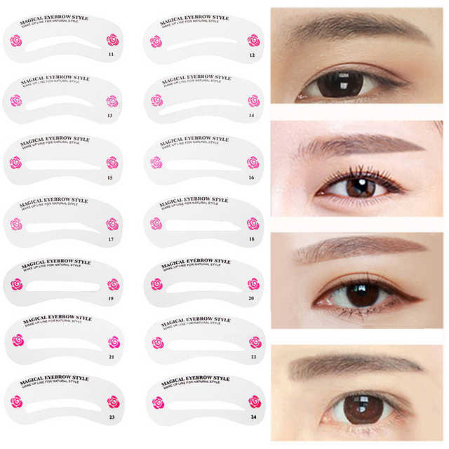 24Pcs/Pack Reusable Eyebrow Stencil Set Eye Brow Drawing Guide Styling Shaping Grooming Template Card Easy Makeup Beauty Tools False Eyelashes