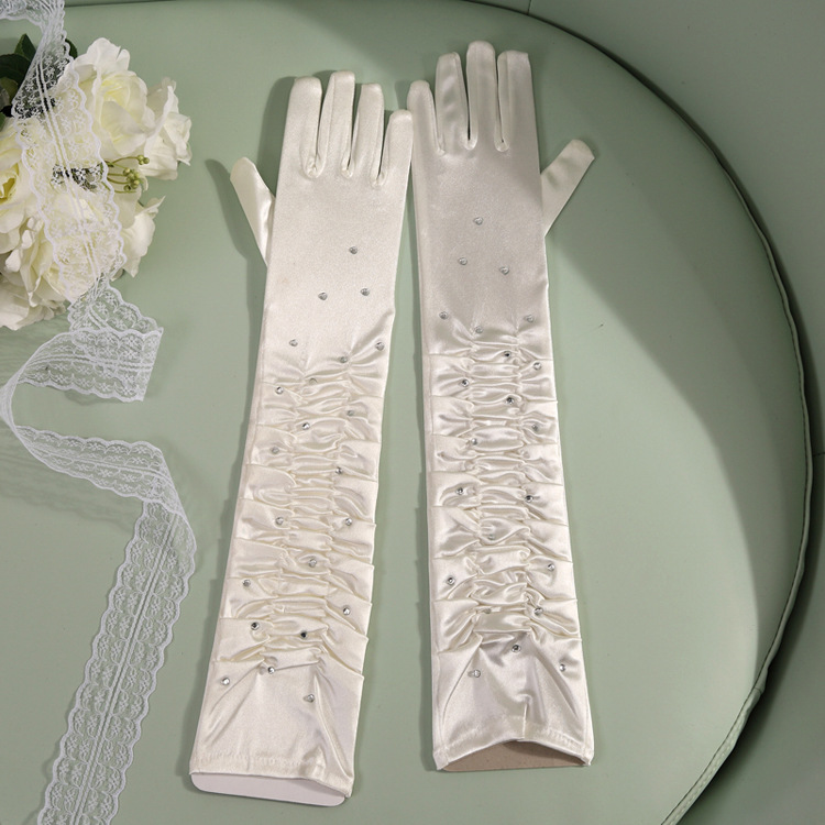 50cm Women Lady Sexy Rhinestone Satin Long Finger Gloves Dance Performance Props Drama Gloves Wedding Party