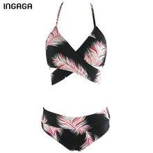 INGAGA New 2017 Bandage Swimwear Women Halter Sexy Bikini Set Printed Padded Summer Beach Swim Wear Bathing Suits