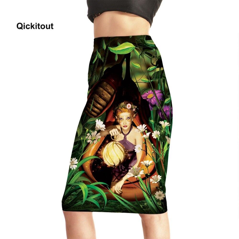 Elf Oil Painting Printed Pencil Skirt 2018 New Women Stretch High Waist Mid Skirts Knee Length Summer Skirt Plus Size