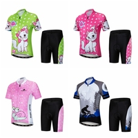 Children Bike Clothing Summer Cycling Jersey Sets Shorts Gel Padded Breathable Quick Dry boy Girl Kid Cycling Suits Pink Cat