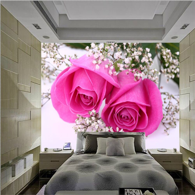 beibehang Seamless Large Fresco Pink Romantic Rose Flowers 3D Stereo ...