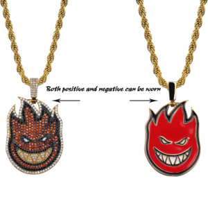 Image 3 - TOPGRILLZ Spitfire Pendant Necklace Iced Out Chain Gold Color With Tennis Chain With Cubic Zircon Mens Hip hop Rock Jewelry