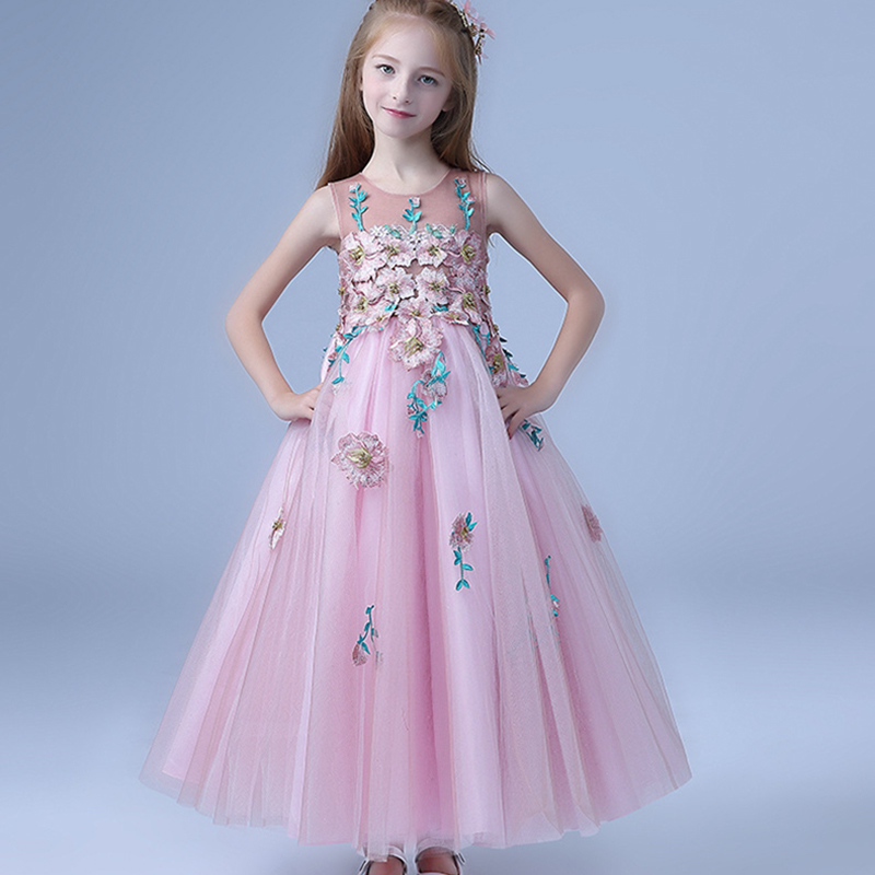 High-grade Luxury Embroidery Flower Kids Girl Dress Teenager Long Pink Party Floral Transparent Pageant Fancy Wedding Vest Dress 100%real luxury light grey flower leaf embroidery slash collar ruffled long medieval dress victorian cosplay seashore photoshoot