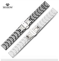 MOROW Fashion Luxury Ceramic Men's Womens Watchband Black White Simple 14 16 18 20 22mm Watch Band Butterfly Deployment Clasps
