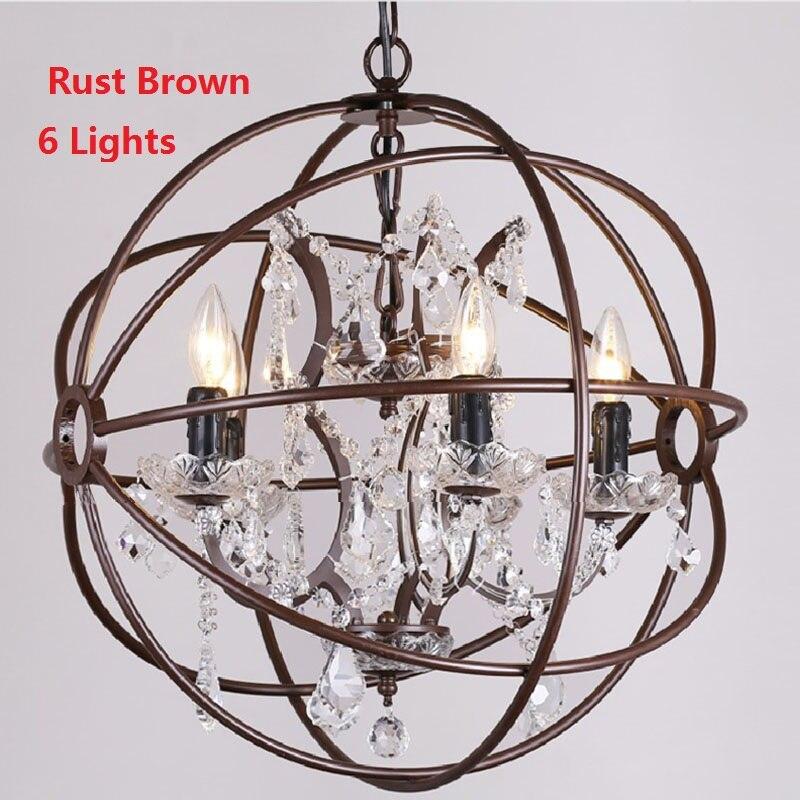 American Country Vintage Hanglamp Lampion Light Fixtures K9 Chandelier Crystal Iron Designer Pendant Lamp Cage Lighting Morden