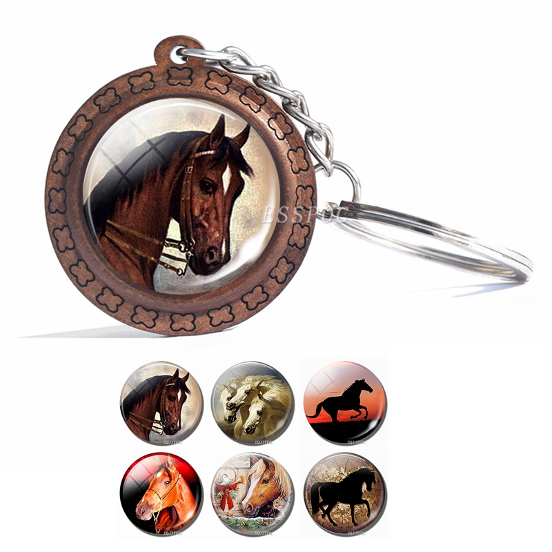 Horse Pendant Horse Glass Cabochon Wooden Keychain Fashion Accessories For Women Handmade Gift